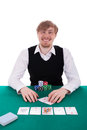 A young man is playing poker Stock Images