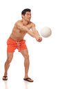 Young Man Playing Volleyball Royalty Free Stock Images