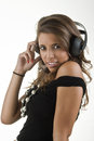 Young man with pleasant thoughts because of the sound beautiful girl to enjoy music Stock Photo
