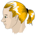 Young man with ponytail Royalty Free Stock Photo