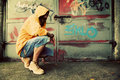 Young man portrait, graffiti wall Royalty Free Stock Photo