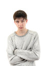 Young man portrait handsome dressed in sweater isolated on the white Stock Image