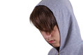 Young man portrait in hooded sweatshirt jumper being photographed in a studio isolated on white background Stock Photos