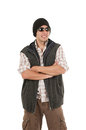 Young man posing wearing sunglasses and vest Royalty Free Stock Photo