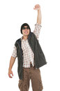 Young man posing wearing sunglasses and vest hispanic like a winner hat isolated over white Royalty Free Stock Images