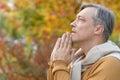 Young man praying Royalty Free Stock Photo
