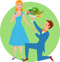 Young man presenting bouquet vegetables to cute woman Stock Images