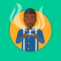 Young man quitting smoking vector illustration. Royalty Free Stock Photo
