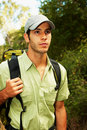 Young man ready to go hiking in the nature Stock Photography