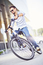 Young man riding a bicycle Royalty Free Stock Photo