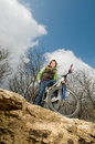 Young man riding bike Royalty Free Stock Photography
