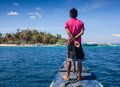 Young man sailing in caribbean sea Royalty Free Stock Photo
