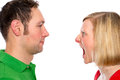 Young man scream at so his wife men in front of white background Stock Images