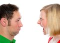 Young man scream at so his wife men in front of white background Stock Image