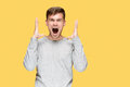 The young man screaming with delight Royalty Free Stock Photo