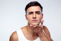Young man after shaving Royalty Free Stock Photo