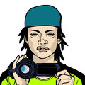 Young man shooting with handy cam illustration of a male photographer video camera done in comic book style Royalty Free Stock Image