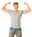 Young man showing his biceps Royalty Free Stock Photo