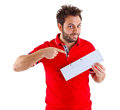 Young man showing the italian money order Royalty Free Stock Image