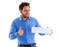 Young man showing the italian money order Royalty Free Stock Photo