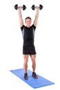 Young man shows finishing position of shoulder Royalty Free Stock Photo