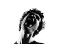 Young man silhouette screaming angry portrait Stock Photos