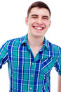 Young man smiling closeup portrait of laughing in checkered shirt isolated on white background mask included Royalty Free Stock Photos
