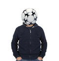 Young man with a soccer ball instead of the head Royalty Free Stock Photo