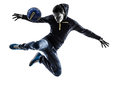Young man soccer freestyler player silhouette one caucasian in on white background Stock Photo