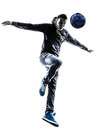 Young man soccer freestyler player silhouette one in on white background Stock Photos