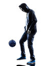 Young man soccer frestyler player silhouette one caucasian in on white background Royalty Free Stock Photos