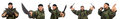 The young man in soldier uniform holding knife  on white Royalty Free Stock Photo