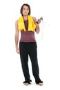 Young man in sports wear with skipping rope isolated on white Royalty Free Stock Photos