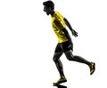 Young man sprinter runner running muscle strain cramp silhouette one caucasian in studio on white background Stock Images