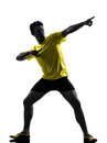 Young man sprinter runner running silhouette one caucasian in studio on white background Royalty Free Stock Image