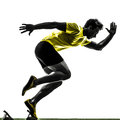 Young man sprinter runner in starting blocks silhouette one caucasian studio on white background Royalty Free Stock Photos