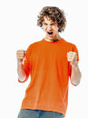 Young man strong screaming happy portrait Royalty Free Stock Image