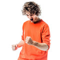 Young man strong screaming happy portrait one caucasian in studio white background Royalty Free Stock Photography