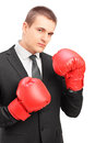 Young man in suit with red boxing gloves ready to fight Stock Image