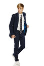 Young man in suit walking Royalty Free Stock Photos