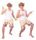 Young man in sunglasses dances Stock Photos
