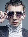 Young man in sunglasses portrait of a handsome Stock Images