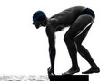 Young man swimmer swimming silhouette Royalty Free Stock Photo