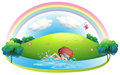 A young man swimming near the hill with a rainbow illustration of on white background Stock Photos