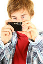 Young man taking pictures Stock Photo