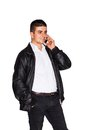 Young man talking business on cell phone Royalty Free Stock Photo