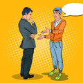 Young Man Talking with Businessman. Pop Art illustration Royalty Free Stock Photo