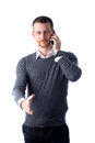 Young man talking on phone and reaching out hand Royalty Free Stock Images