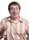 Young man thumbs up Stock Photography