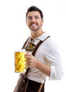 Young man in traditional bavarian costume on white background Royalty Free Stock Photo